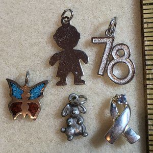 Lot of 5 Vintage Costume Jewelry Charms/Pendants